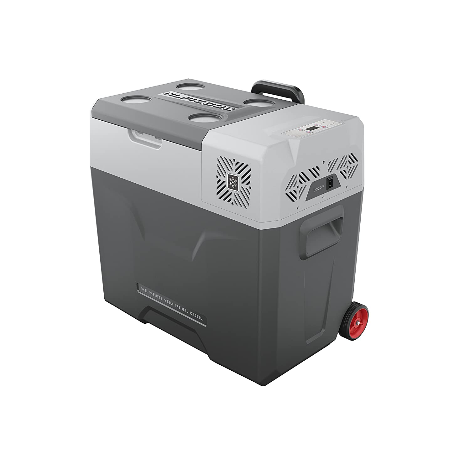 Alpicool CX50 Portable Refrigerator 53 Quart(50 Liter) with Trolley Vehicle, Car, Truck, RV, Boat, Mini Fridge Freezer for Driving, Travel, Fishing, Outdoor and Home use -12/24V DC and 110-240 AC