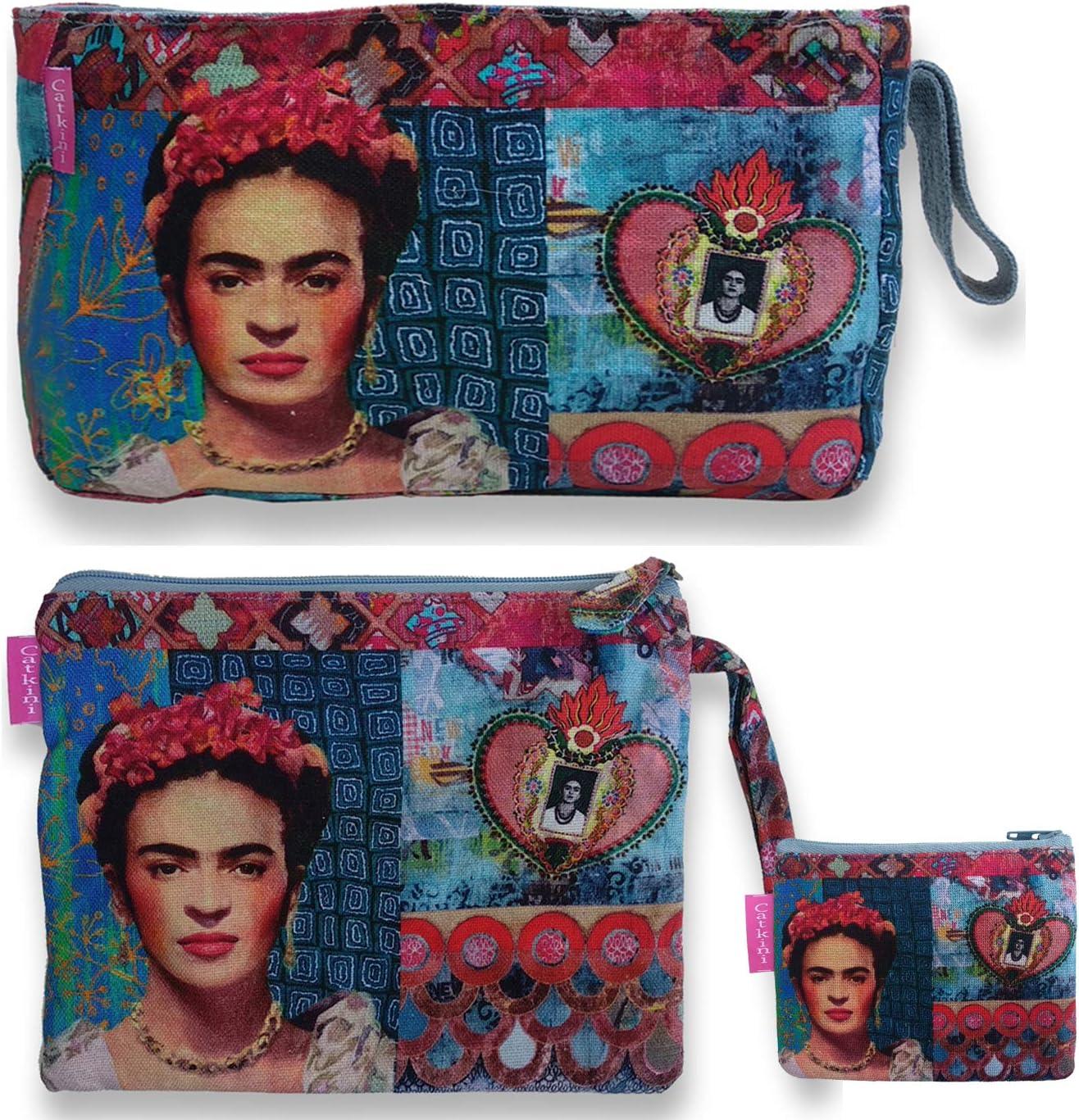 Bolso Aseo//Neceser Maquillaje Viaje//Set 3 Piezas Neceseres sobre Cartera y Monedero de Mujer Frida Kahlo.