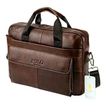 4ed3222e8827 VIDNEG Polo Handmade Briefcase Top Grain Leather Laptop Bag Messenger  Shoulder Bag for Business Office 15