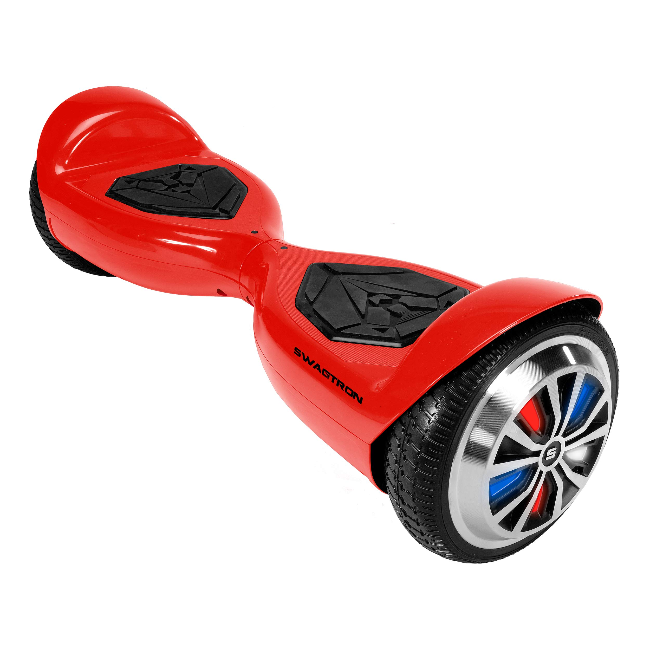 Swagtron Swagboard Hoverboard for Kids and Young Adults; Optional Learning Mode; Patented Battery Protection (Red with LEDs)