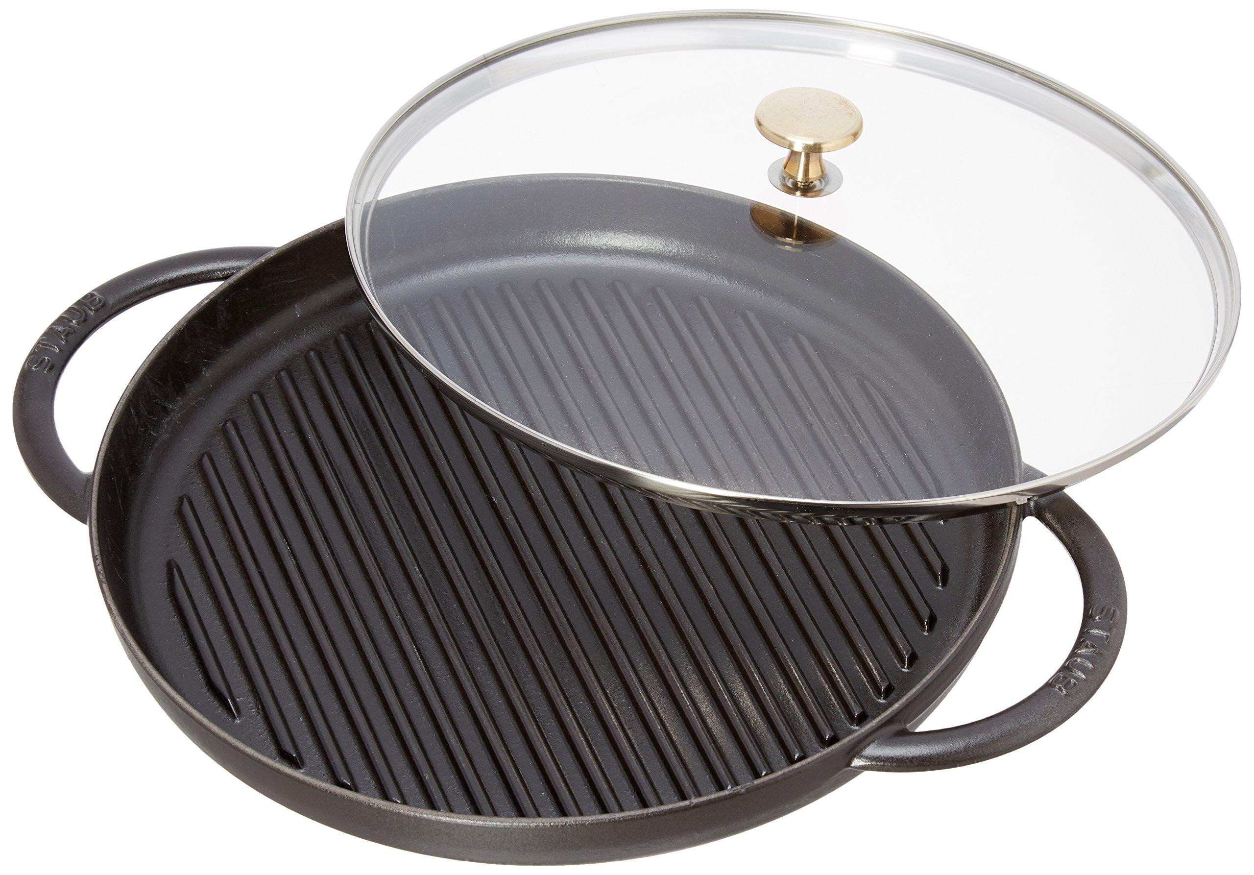 Staub Cast Iron 12'' Round Steam Grill - Black Matte