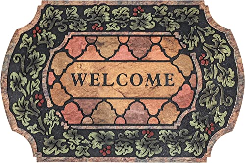 Topotdor Indoor and Outdoor Rubber Mat for Front Door Entrance Mat,Non-Slip Rubber Flocking Mat 23 x 35 Inch, Antique