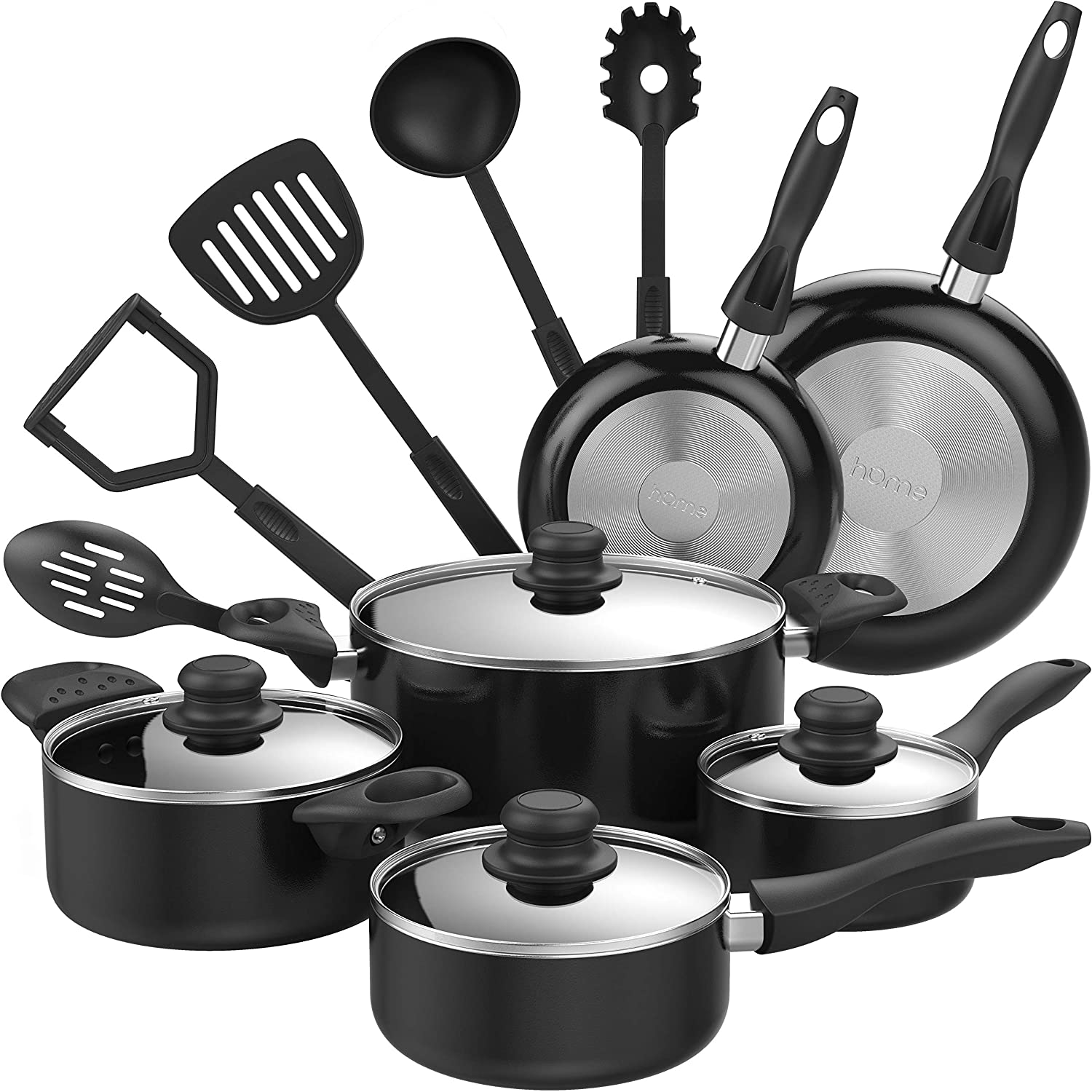 Homelabs 15 Piece Nonstick Cookware Set Multi Quart Aluminum Kitchen Pots And Pans Set With Nonstick Bpa Free Nylon Cooking Utensils Oven Safe