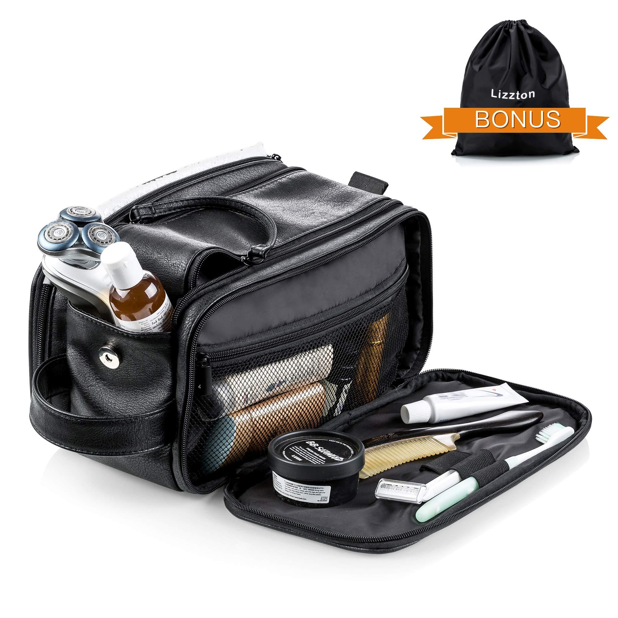 Lizzton Toiletry Bag for Men Travel Shaving Dopp Kit Case Waterproof Bathroom Toiletries Organizer Leather Wash Bags