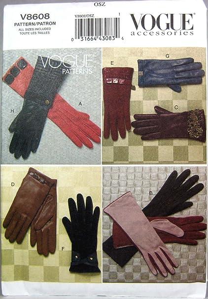 Amazon.com: Vogue Patterns V8608 Gloves, All Sizes: Arts, Crafts ...