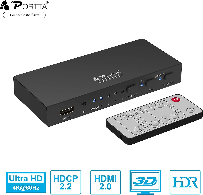 Conmutador HDMI 4K, Puerto 4 Puertos v2.0 con Mando a Distancia Audio óptico Salida Toslink Compatible Ultra HD 3D 4K@60 4: 4: 4 HDCP 2.2 ARC HDR para PS3 / PS4/PRO/Xbox One/BLU -Ray Player/Roku
