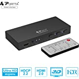 4K HDMI Switch, Portta 4-Port HDMI Switcher Box v2.0 with Remote Control Audio Optical TOSLINK Out Supports Ultra HD 3D 4K@60Hz 4:4:4 HDCP2.2 ARC HDR for PS3/4/4 PRO/Xbox One/Blu-ray Player/ Roku/Apple TV/Fire TV (4 In 1 Out)
