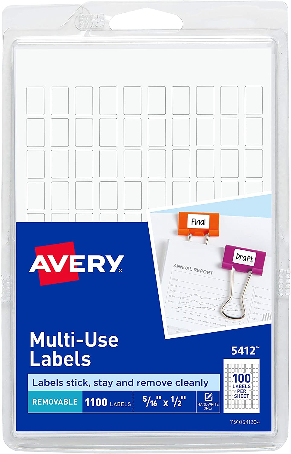 Avery Removable Rectangular Labels, 0.31 x 0.5 Inches, White, Pack of 1100 (5412) : Office Products
