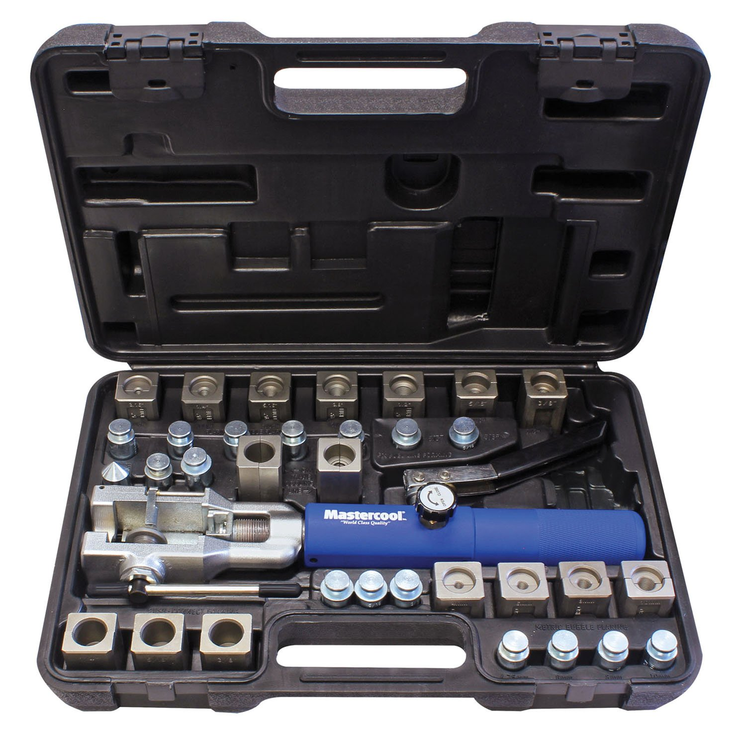 3//8/&1//2 Transmission Cooling Line Die//Adapter Sets Plus Tube Cutter MASTERCOOL 72485-PRC Silver//Blue Universal Hydraulic Flaring Tool