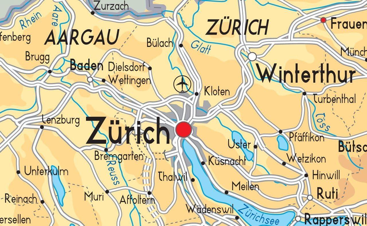 Politica Cartina Geografica Svizzera.Svizzera Mappa Fisica Carta Plastificata A0 Size 84 1 X 118 9 Cm Amazon It Cancelleria E Prodotti Per Ufficio