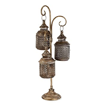 Lustre Vintage Metal 3 Hanger Lanterns With Base Indoor Outdoor