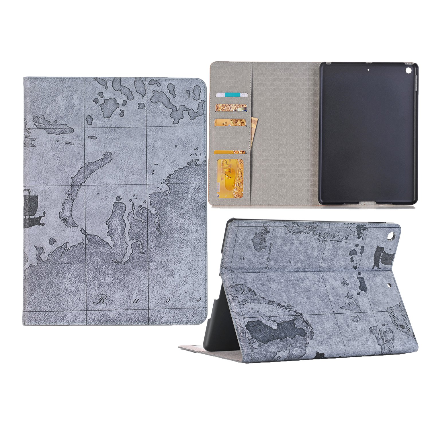 KingTo iPad Pro 9.7 Case, Map Pattern Slim Book Style Stand with Card Slots Screen Protective for iPad Pro 9.7 Inch Tablet - Gray