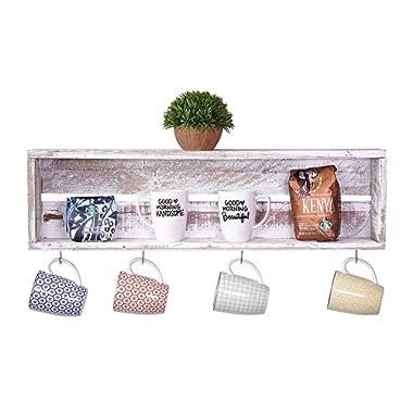 del Hutson Designs USA Handmade Reclaimed Wood Rustic Coffee Bar Floating Shelf, White