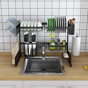 Skywin Kitchen Dish Rack Over Sink - 2 Tier Dish Rack for Counter Over the Sink Dish Rack - Stainless Steel Dish Rack (Small Dish Rack - Black 27 inch)