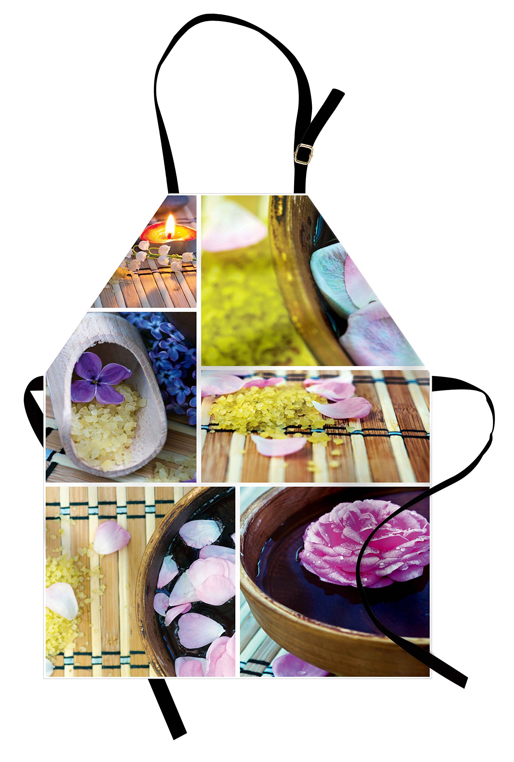 Ambesonne Spa Apron, Spa Organic Cosmetics Theme Wooden Bowl Petals Lavender Candle Pebbles Therapy Oil, Unisex Kitchen Bib Apron with Adjustable Neck for Cooking Baking Gardening, Purple Brown