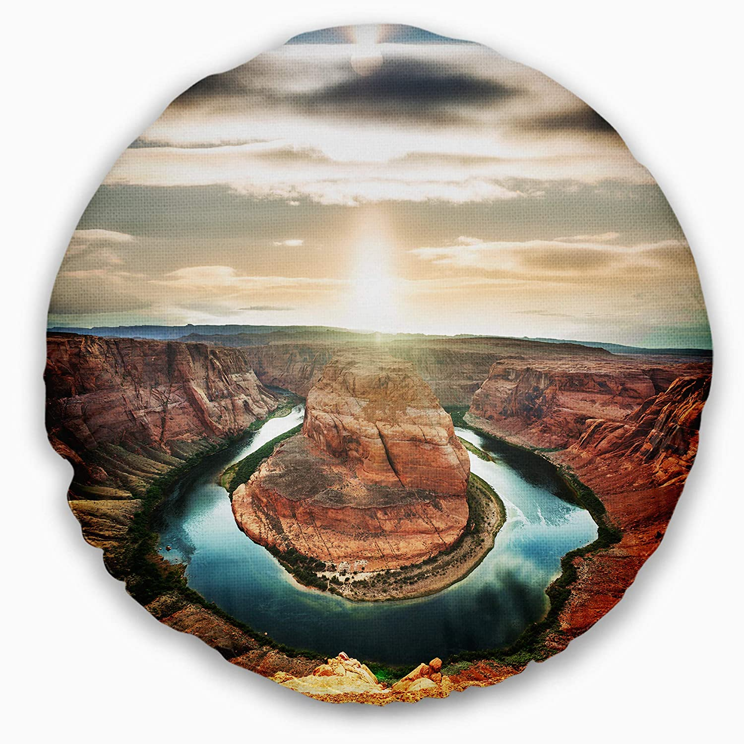 Sofa Throw Pillow 20 Designart CU12268-20-20-C Horseshoe Bend at Sunset Landscape Printed Round Cushion Cover for Living Room