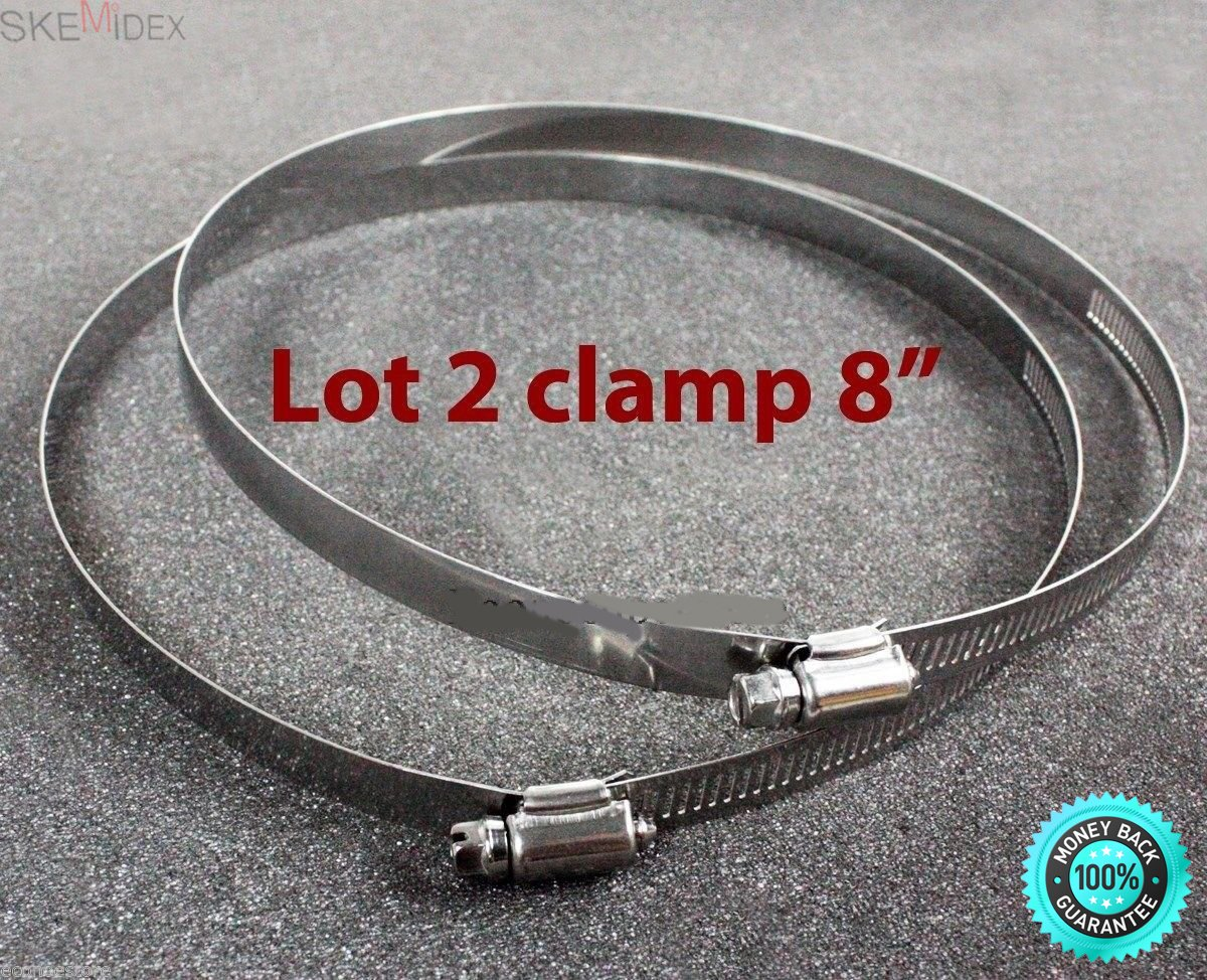 SKEMiDEX---LOT TWO 8'' Stainless Steel Hose Pipe Adjustable Screw Bolt Clamps Ties Wrap New. Release or tighten the bolt to adjust the band diameter range Ideal for industrial or home use