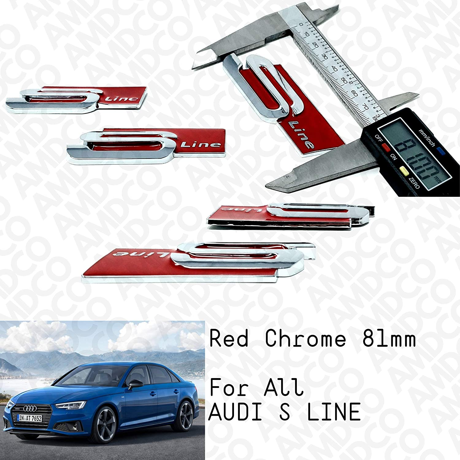 CHROME RED pack of 2 S LINE RED CHROME Emblem Badge Stickers Decals with Strong 3M Includes instructions MEASURE Before Purchase Fitment Top Quality fit For S RS LINE SIDE FENDER AMD