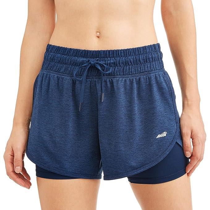 Avia Womens Core Active 2Fer Knit Striped Running Performance Shorts Indigo Essence Blue, XL 16-18