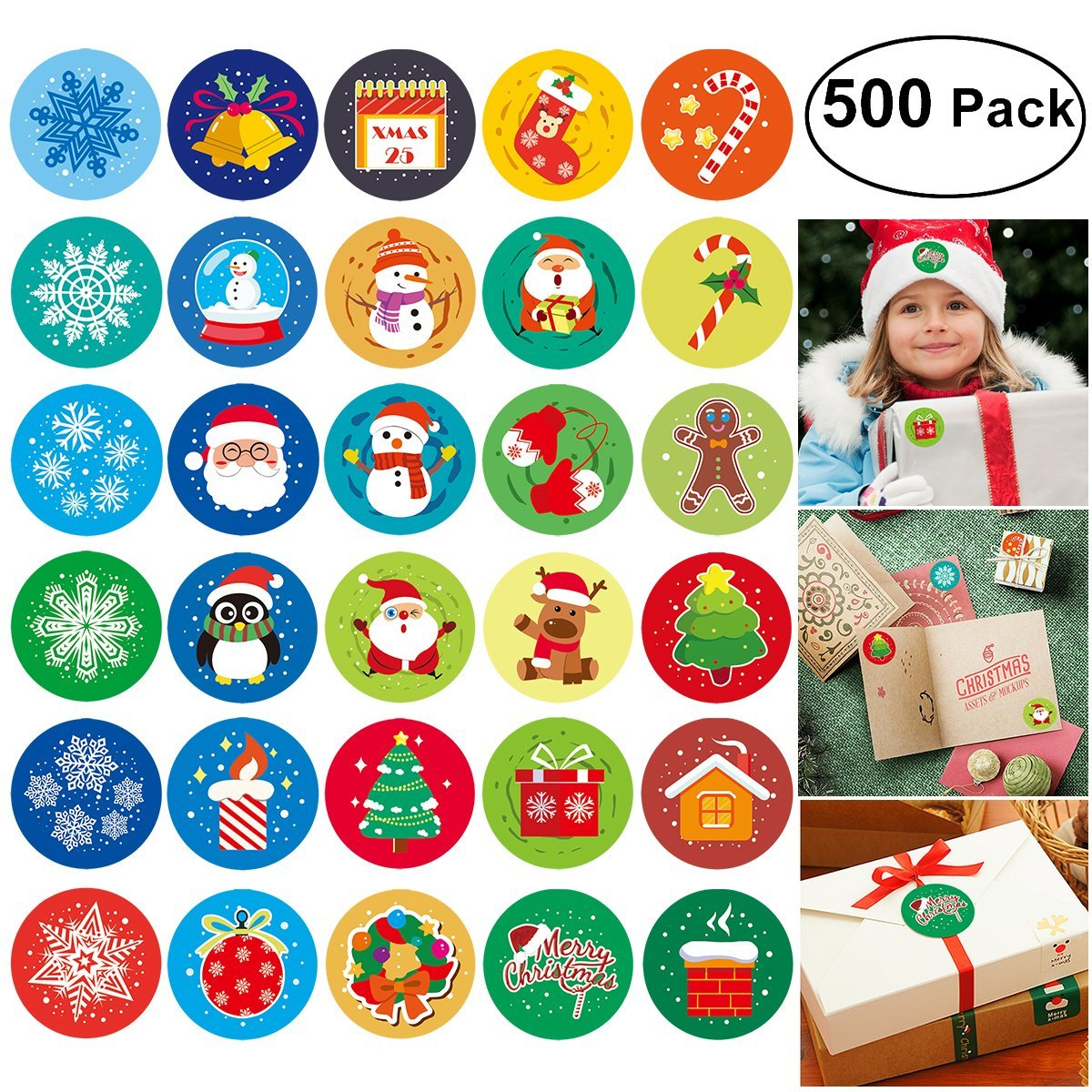 Christmas Stickers, Happy New Year Sticker 500 Assorted Adhesive Roll  Stickers 30 Patterns in 5 Rolls, Diameter 1 1⁄2