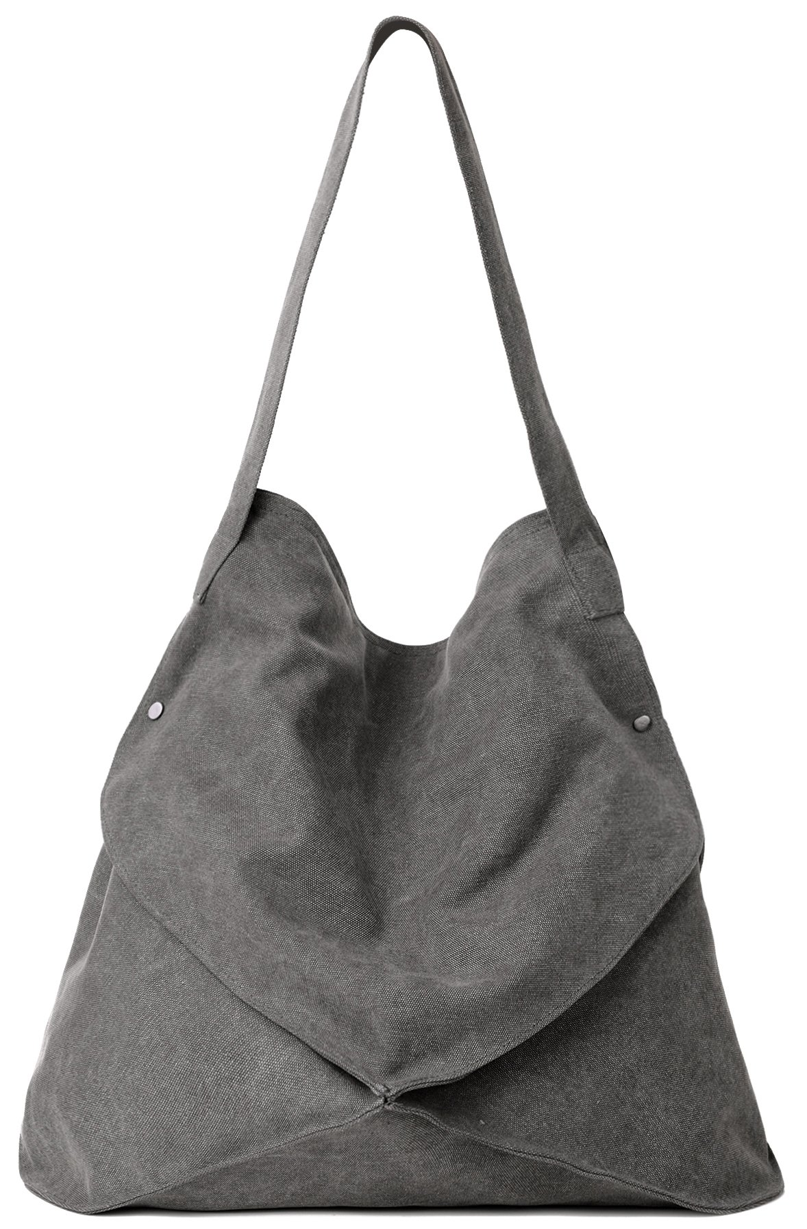 Women's Anti-Theft Cotton Canvas Handbag Shoulder Bags Tote Purses (Grey)