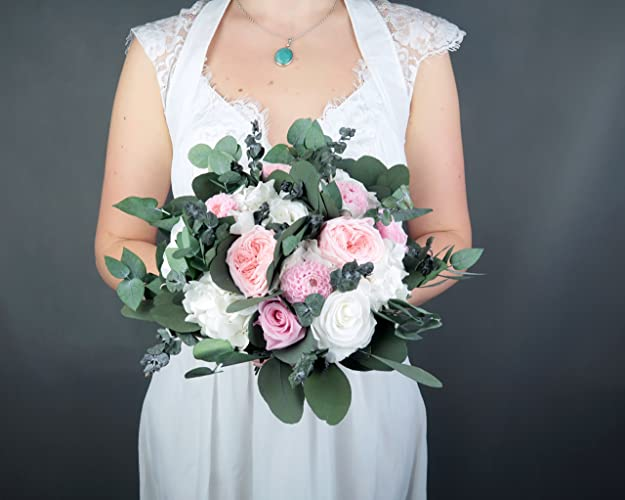 Amazoncom White Blush Pink Wedding Bridal Bouquet Real Preserved