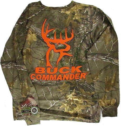 Buck Comandante Realtree Caza de los Ciervos Manga Larga Camiseta, Hombre, Negro: Amazon.es: Deportes y aire libre