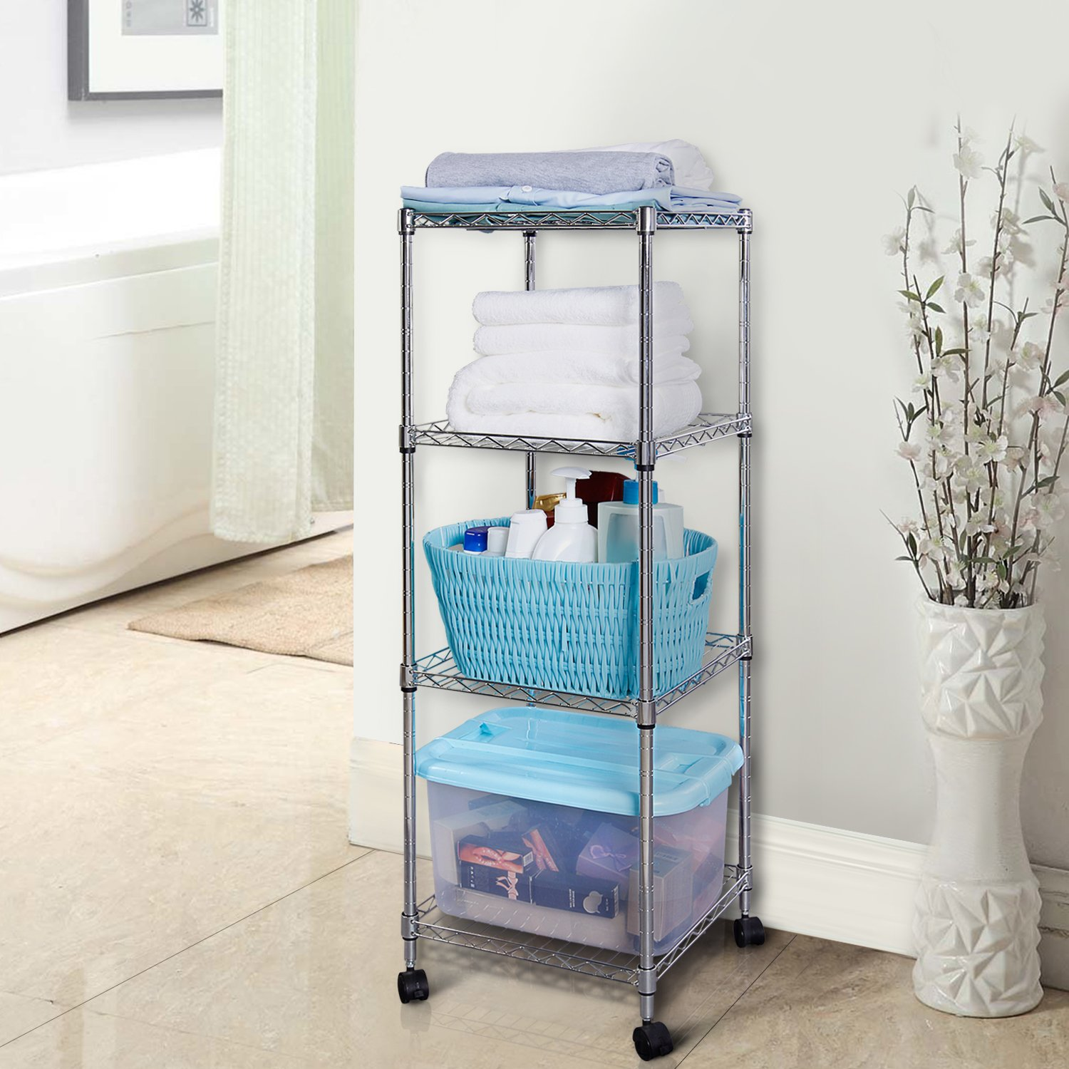 Lifewit 4 Tiers Wire Shelving Unit on Wheels, Adjustable Square ...