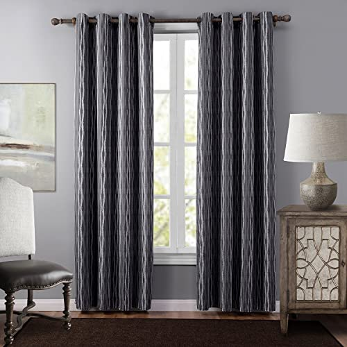 Leyden 1 Panel Thermal Insulated Grommet Top Striped Jacquard Curtains Drapes for Bedroom 52 Wide x 95-inch Length, Gray