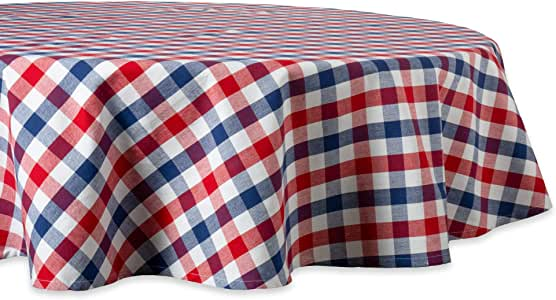 """DII 100% Cotton, Machine Washable, Dinner, Summer & Picnic Tablecloth, 70"""" Round, Red, White and Blue Check, Seats 4 to 6 People"""