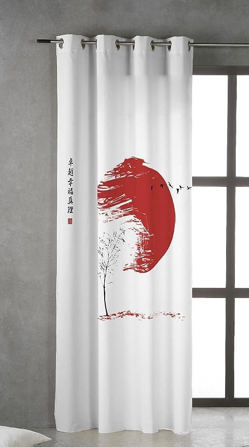 TSUKI Hinata Cortina Ojales metálicos 150 x 260 Zen, Chillout, Japonesa