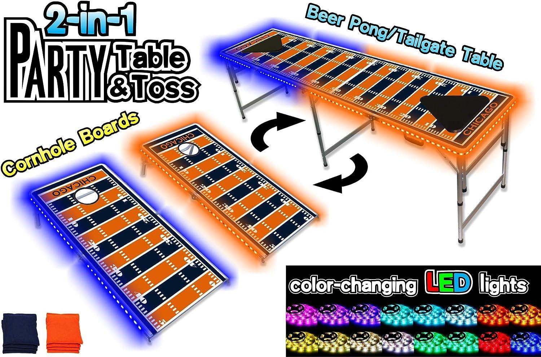 2イン1 Cornholeボード&ビールPong表W /変光LEDグローライト – シカゴフットボールフィールド