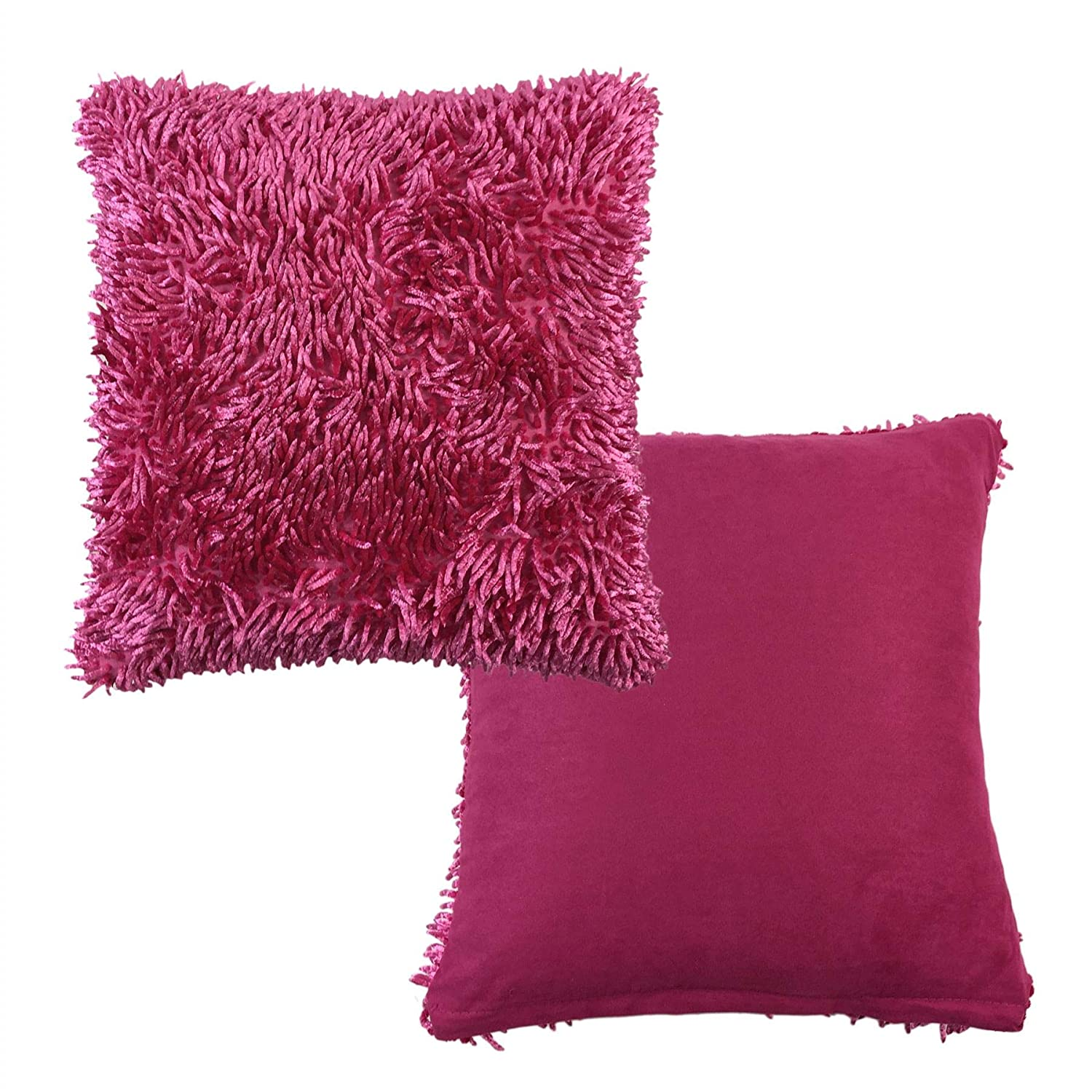 2 X Filled Luxurious Fuschia Pink Shaggy Chenille Twist Thick Supersoft 17-43cm Cushions Pillow Case Shams