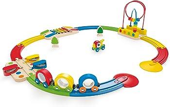 Hape E3815 Rainbow Sights & Sounds Toddler Wooden Railway