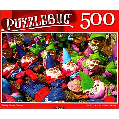 Resting Garden Gnomes - 500 Pieces Jigsaw Puzzle: Toys & Games