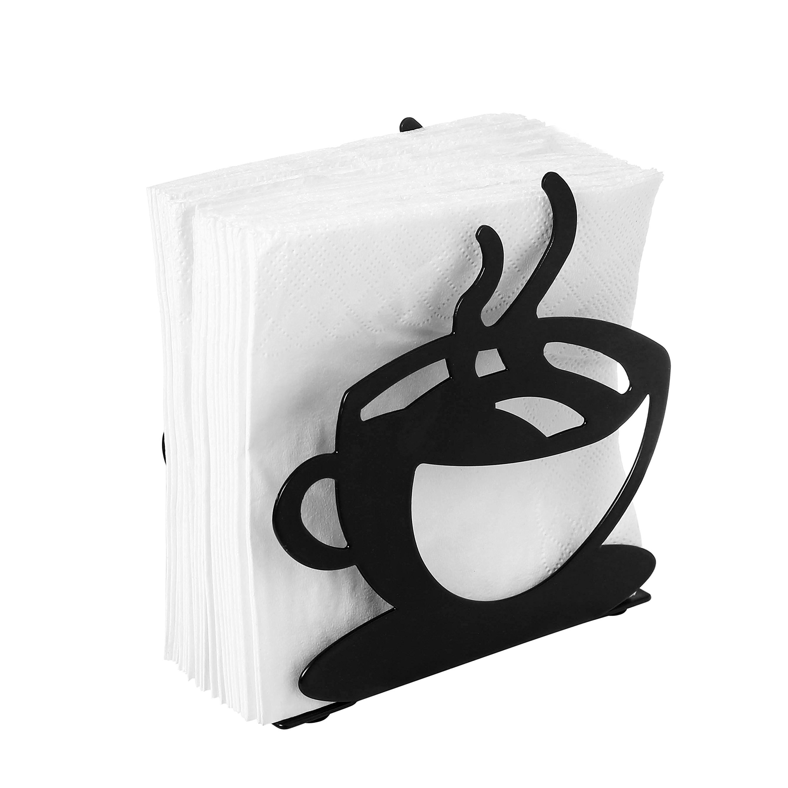 Tabletop Metal Coffee Cup Silhouette Upright Napkin Holder, Black