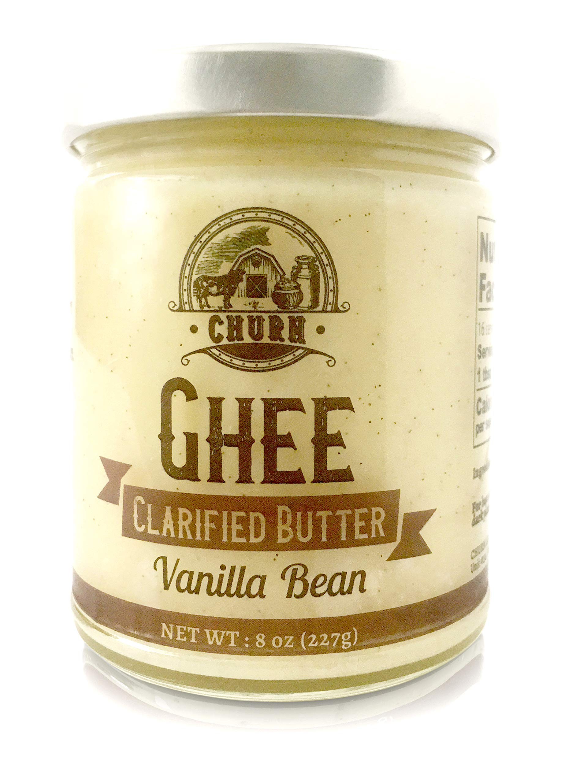 Vanilla Bean Ghee Butter by Churn Ghee, Grass-Fed, Pasture Raised, Gluten Free, Lactose & Dairy Free, Paleo and Keto-Friendly, Made from Amish Roll Butter, 8 Ounces