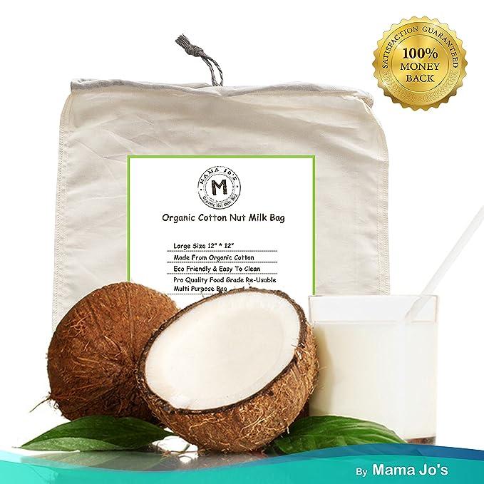 Orgánico Tuerca Leche libre de - Bolsa para Leche de almendra Receta, grande reutilizable estameña, milks de ideal para Amazing Coco komboucha milks y queso ...