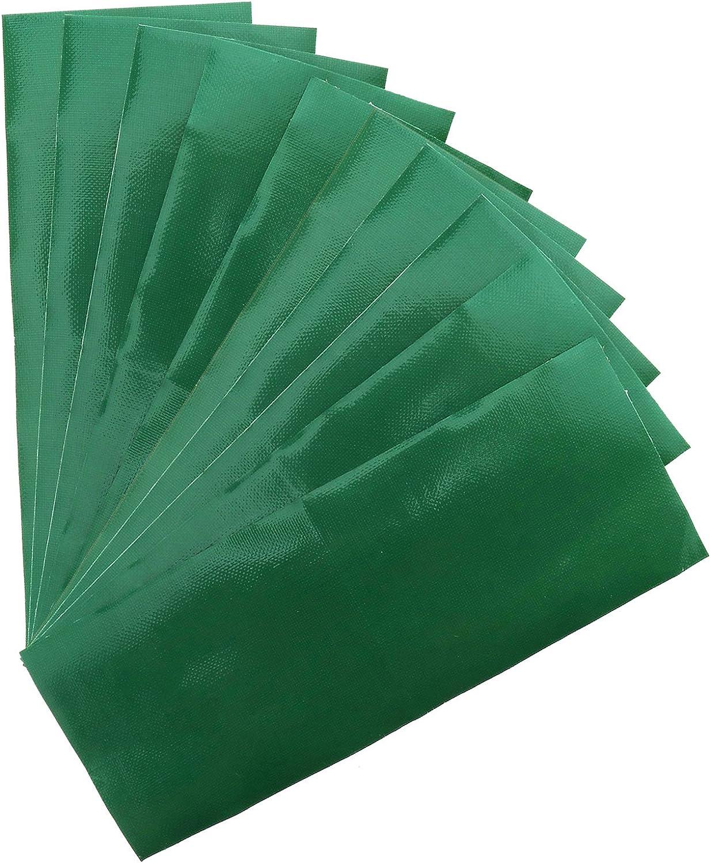 D2D 10 Piezas de Cinta de Reparación de Tienda de Campaña, Cinta de politúnel, Parches de Reparación, Resistente al Agua, Adhesivo de Reparación, Color Verde