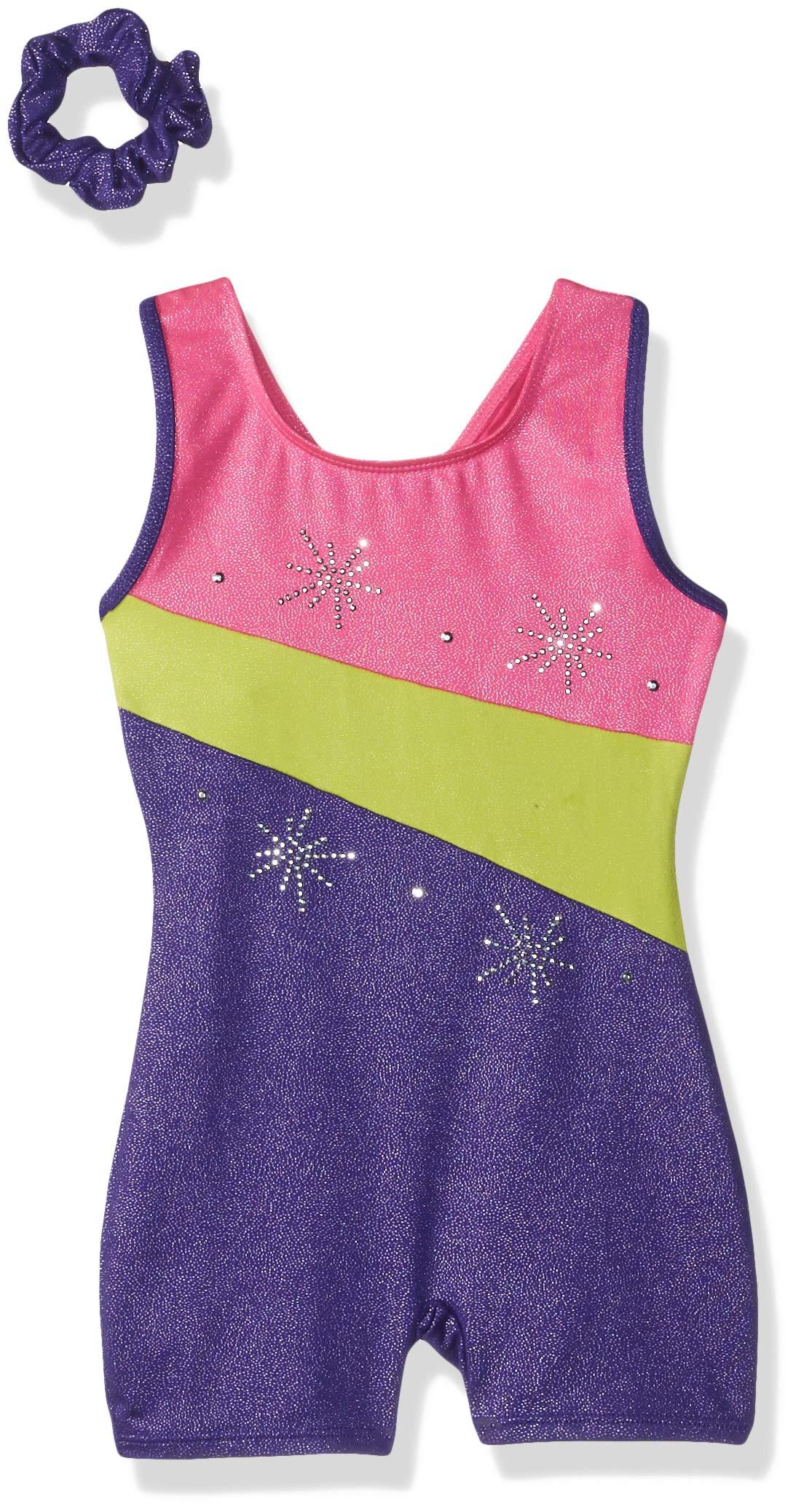 Jacques Moret Big Girls' Fun Gymnastics Biketard, Cosmo Sky Pink/Yellow/Purple, M