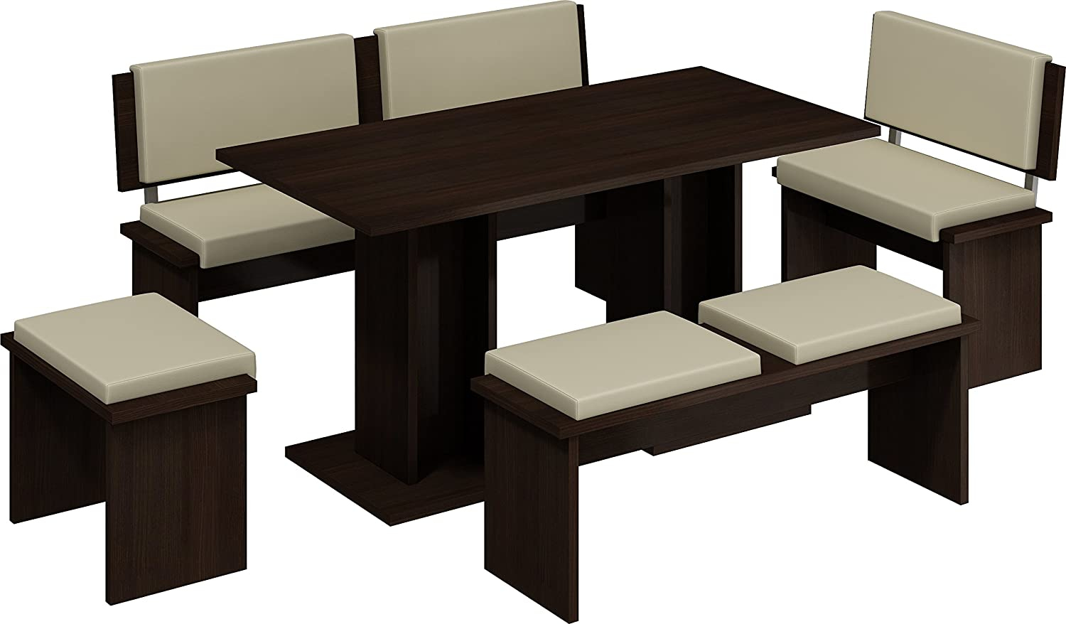 MEBLE FURNITURE & RUGS 5 Pc Breakfast Kitchen Nook Table Set, Bench Seating, Dark Oak with Beige