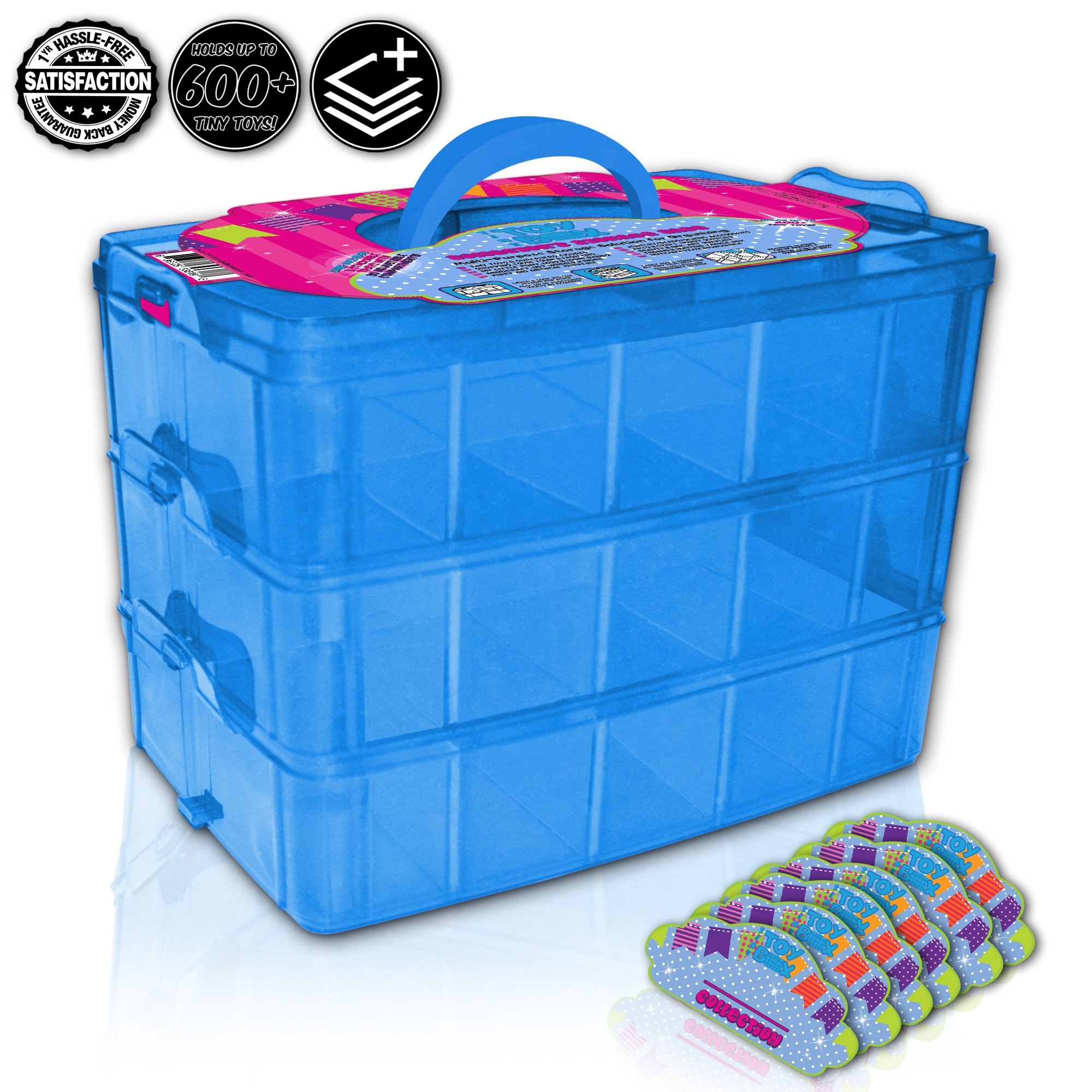 Holds 600 - Tiny Toy Box Shopkins Storage Case Organizer Container - Stackable Collectors Carrying Tote - Compatible W/ Mini Toys Colleggtibles Tsum Tsum LoL Hot Wheels (Blue)