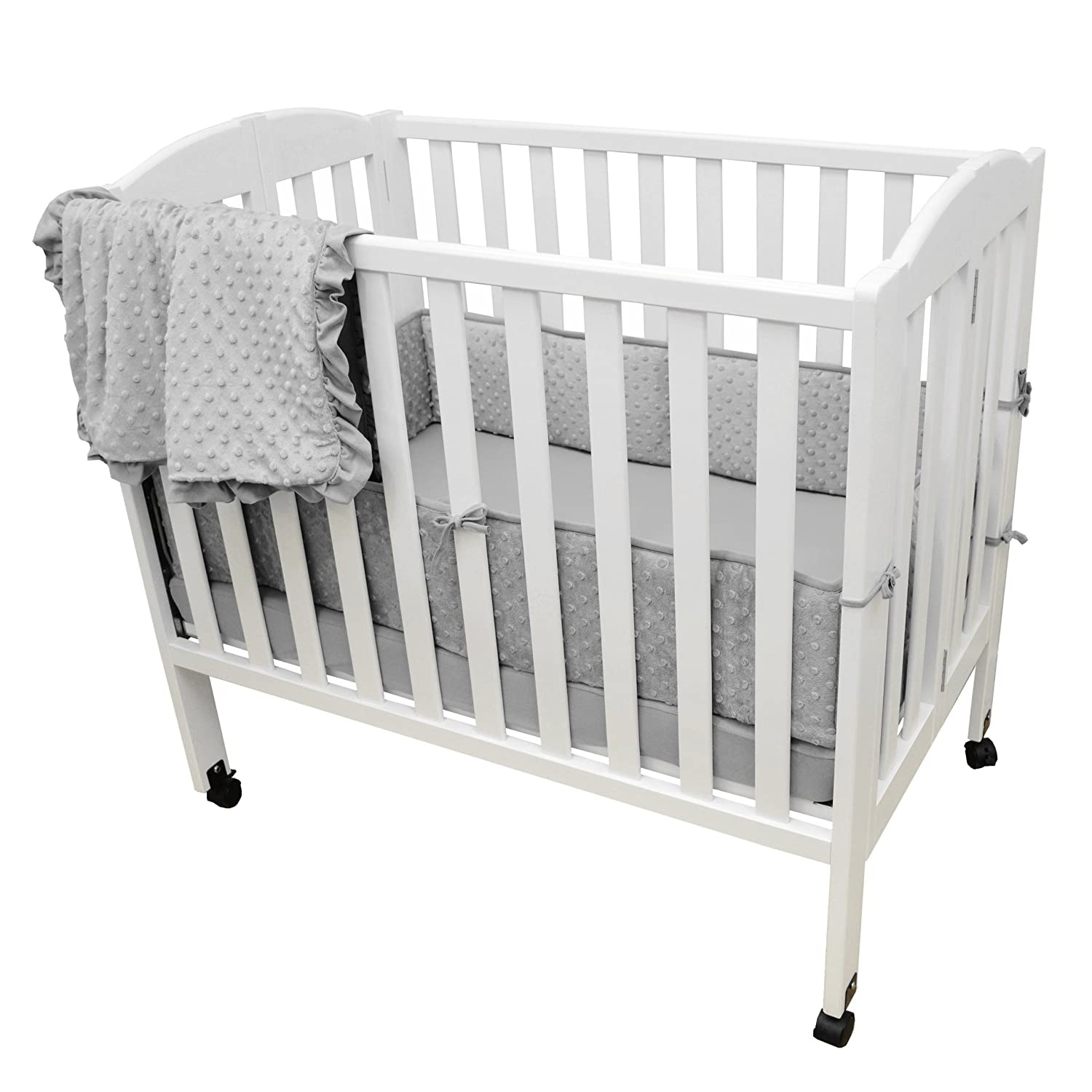 Gray TL Care Heavenly Soft Minky Dot 3 Piece Mini Crib Set for Boys and Girls