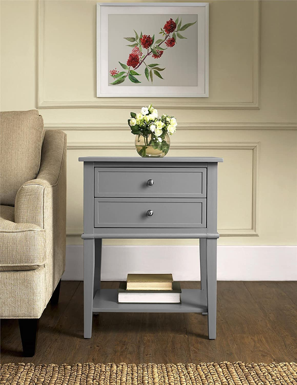 amazon com ameriwood home franklin accent table with 2 drawers