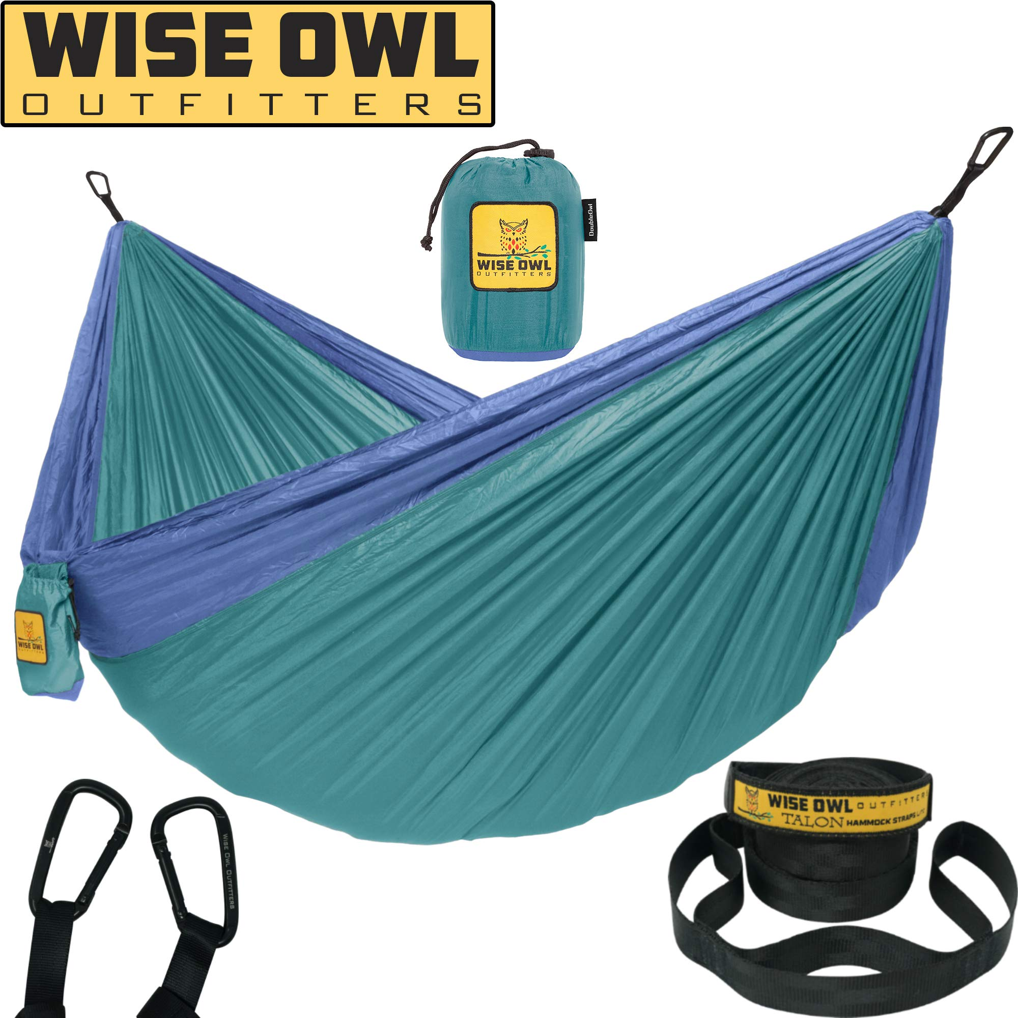 Wise Owl Outfitters Hammock Camping Double & Single with Tree Straps - USA Based Hammocks Brand Gear, Indoor Outdoor Backpacking Survival & Travel, Portable DO Gn/Blu by Wise Owl Outfitters