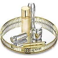 Bandeja decorativa de metal con espejo de 32,3 cm de diámetro, portavelas, bandeja para cupcakes de boda, bandeja de…