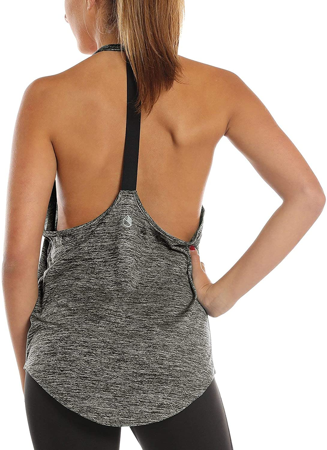 icyzone Camiseta Deportiva sin Mangas Dise/ño de T-Back para Mujer