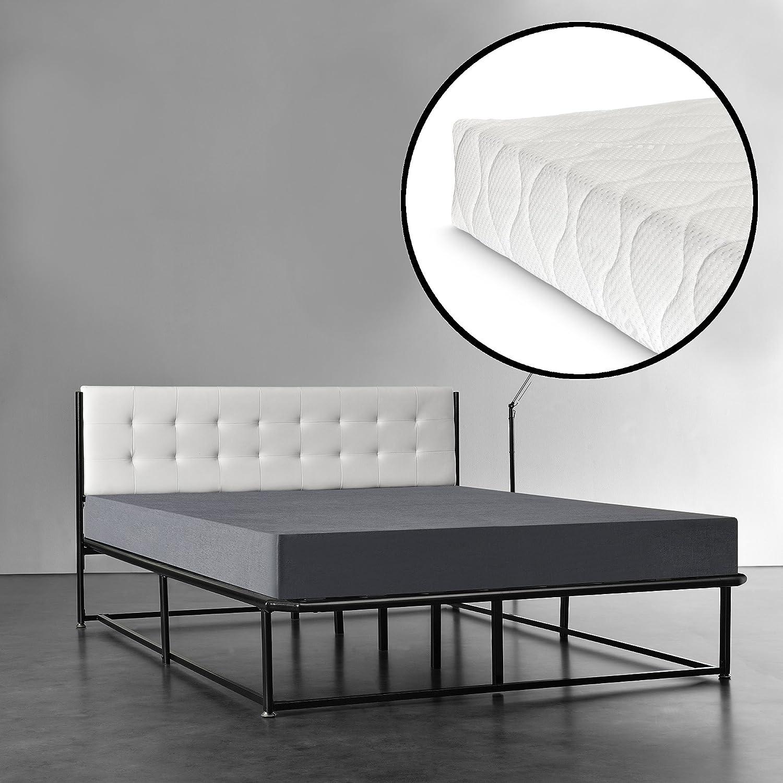 [en.casa]® Lit double avec cadre en acier et avec matela -140 x 200 cm - noir avec cadre blanc