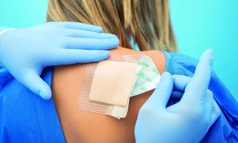 Touchmed - Apósito de espuma de poliuretano con silicona, con borde – 15 x 15 cm – Paquete de 10 unidades: Amazon.es: Salud y cuidado personal