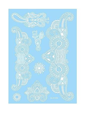 Amazoncom Hot Sale White Henna Tattoo Lotus Flower Pendant Design